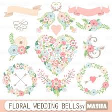 Floral Wedding Clipart FLORAL WEDDING BELLS With Heart Flower Wreaths Ribbons Bouquets For Invitations 2316066