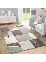 paco home designer teppich modern konturenschnitt pastellfarben mit karo muster beige rosa klingel