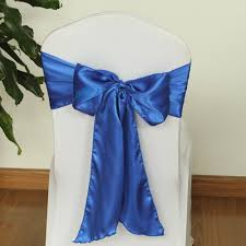 blue wedding chair sashes organza chiffon satin wedding chair