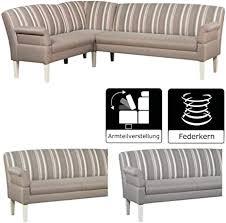 cavadore eckbank malm mit federkern für küche esszimmer oder wohnküche sitzbank im landhaus design mit armteilfunktion strukturstoff beige