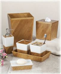 Tuscan Style Bathroom Decorating Ideas by Design Spa Bamboo Ceramic Bath Bathroom Accessories Choice Brown