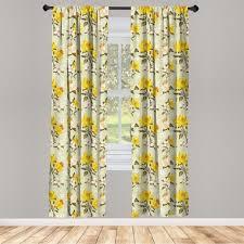 gardine fensterbehandlungen 2 panel set für wohnzimmer schlafzimmer dekor abakuhaus frühling floral narcissus ast kaufen otto