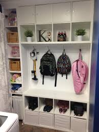 2 kallax shelving units from IKEA are perfect cubbies to organize a mudroom