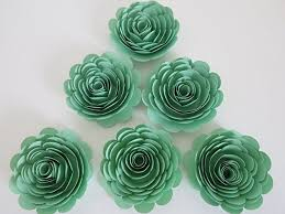 Handmade Paper Flowers Mint Green 3quot Roses Set Of 6 Baby Shower