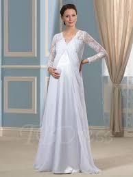 v neck lace empire waist long sleeves pregnant wedding dress