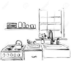 Kitchen Furniture Sketch Hand Drawn Cupboard Interior Stock Vector