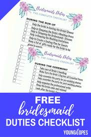 FREE BRIDESMAID DUTIES CHECKLIST