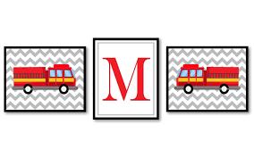 Fire Truck Nursery Art Set Of 3 Prints Red Black Yellow Grey Letter ...