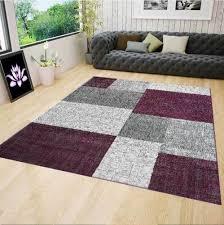 wohnzimmer teppich modern kurzflor lila grau weiß kariert