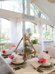 Easter Spring Table Setting With Greenhouse Centerpiece