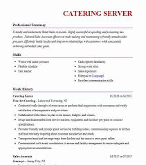 Catering Server Resume Sample Resumes