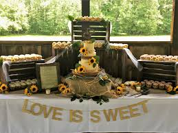 Rustic Country Wedding Cake And Cupcake Display With Live Sunflowers