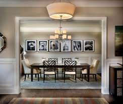 Example Of A Large Classic Dark Wood Floor Dining Room Design In Charlotte With Beige Walls