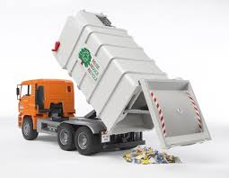 Bruder Toys Man Side Loading Garbage Truck Orange 02761