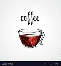 Color Coffee In Glass Dish With Calligraphy Sketch Vector Image
