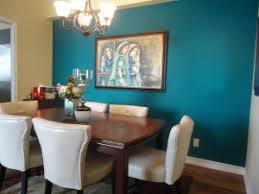 Teal Accent Wall For Dining Room Window Possibly Deep Red Curtains To Bring The Color Scheme Together