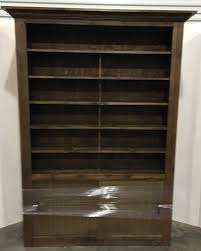 Dark Rustic Wood Walnut Stain Bookcase Display Cabinet Retail Store