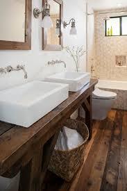 waschtisch holz rustikal rechteckige keramik