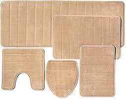 badezimmer teppich aus memory schaum mit rutschfester unterseite 5 stück beige
