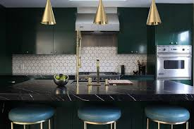 kitchen black high gloss wood countertop with blue bar