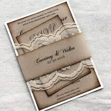 Rustic Wedding Invitations Kraft Invitation Lace Aged Set Barn