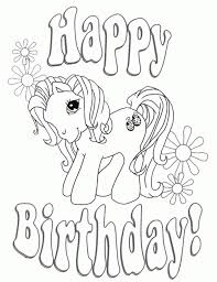 Happy Birthday My Little Pony Coloring Page Free For Kids