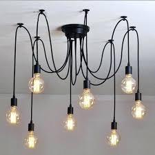 Rustic Industrial Lighting Light Cable Chandelier In Black Floor Lamps