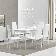 en casa essgruppe set 7 tlg esstisch mit 6 stühlen stavanger 140x60cm küchentisch kunstleder stühle weiß