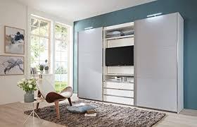 lifestyle4living kleiderschrank in weiß außentüren in grau