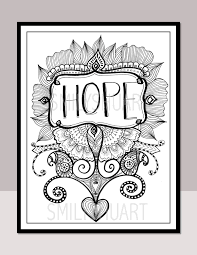 HOPE Printable Motivational Quotes Christmas Coloring Zentangle Adult Pages Cards Mindfulness Art Therapy