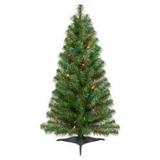 3ft Prelit Slim Artificial Christmas Tree Alberta Spruce Multicolored Lights