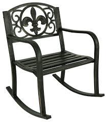 Sunnydaze Outdoor Patio Rocking Chair, Cast Iron With Fleur-de-Lis Design