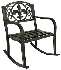 Sunnydaze Outdoor Patio Rocking Chair, Cast Iron With Fleur-de-Lis Design