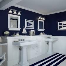 Navy Blue Bathroom Sink Vanity by Navy Blue Bathroom For Beach Themed Colors And Stripes White Rug