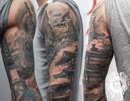 Japanese Sleeve Owl Sword Sharp House Half For Men Best Tattoo Black Grey Arm