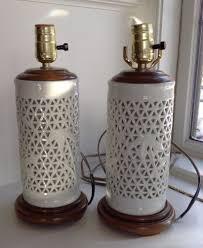 Tubular Light Bulb For Ceramic Christmas Tree by Bamboo Pierced Ceramic Table Lamp Hollywood Regency Set Of 2 For