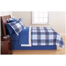 Mainstays Blue Plaid Bed in a Bag Bedding Set Walmart