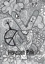 Adult Coloring Page PEACE Printable Line Art To By CandyHippie