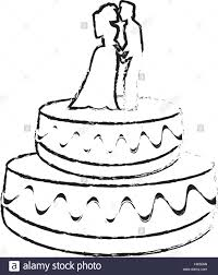 wedding cake couple dessert sketch