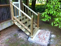 Porch steps with brick landings simple wooden step no hand rails
