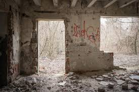 Download Creepy House Interior Stock Image Of Destroyed