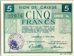 chambre colmar banknote 5 francs colmar chambre de commerce série a