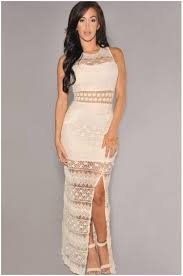 2016 new cream crochet accent lace maxi dress one size women