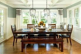 Elegant Dining Room Table Cloth Bench Wood Floor Chairs Chandeliers Flowers Windows Traditional