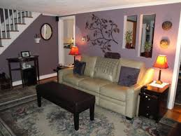 purple living room with light grey border walls and white trim