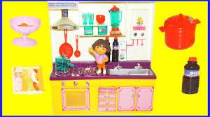 dora the explorer kitchen play set unboxing my sweet kitchen set