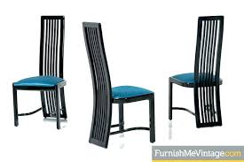 Modern High Back Dining Chairs Black Lacquer Made In