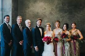 Alex Kuznetsov In Navy Tuxedo Bride Liancarlo Wedding Dress Ruffled Skirt Bridesmaids