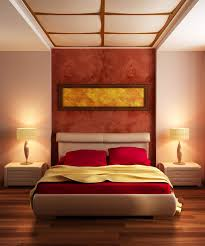Nice Double Drum Shade Lamps Over White Nightstands Between Upholstered Master Bed With Red Cover Sheet