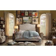 Adella Linen Tufted Upholstered King Size Bed Frame Free